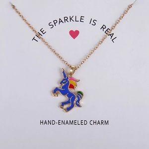 ☀️ Hand Enameled Gold & Blue Unicorn Necklace 🦄
